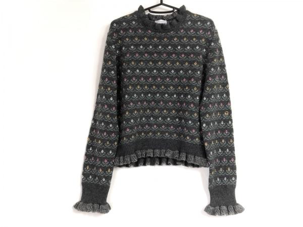バレンチノ 長袖セーター サイズXL レディース ダークグレー×ライトグリーン×マルチ