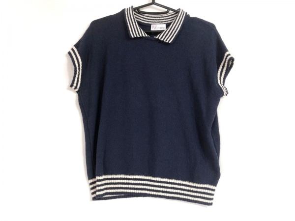 バレンチノ 半袖ポロシャツ サイズL レディース ネイビー×白 ニット