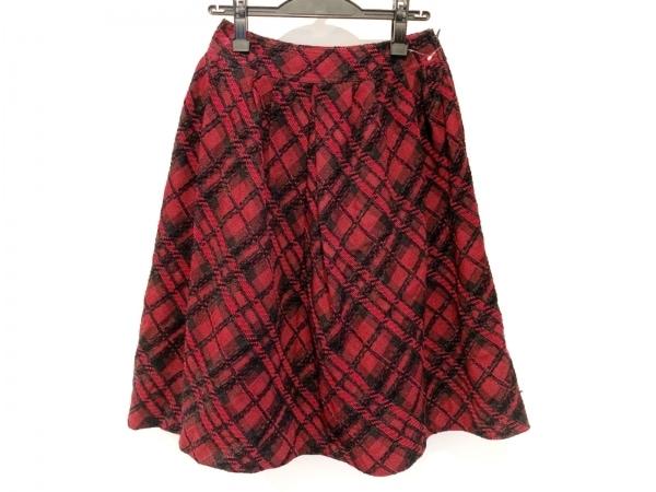 Rene(ルネ) スカート サイズ36 S レディース美品  レッド×黒 チェック柄/TISSUE