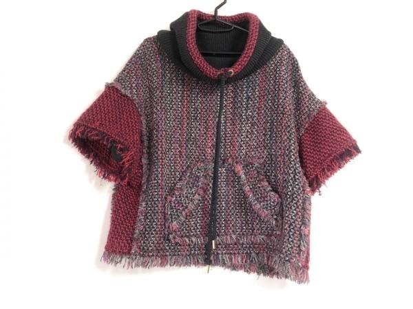 TORY BURCH(トリーバーチ) 半袖セーター サイズL レディース 黒×レッド×マルチ