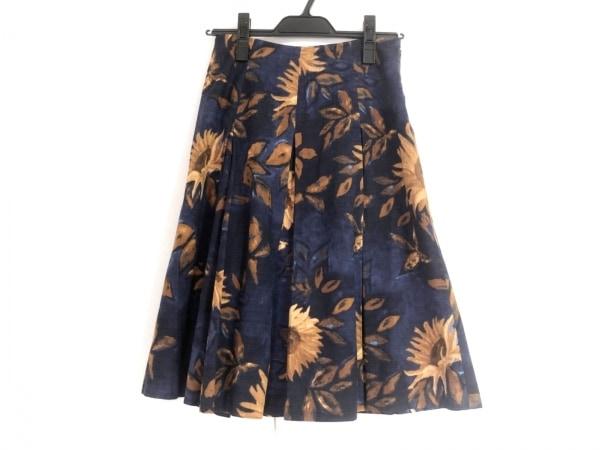 マックスマーラ スカート サイズ38 S レディース美品  ネイビー×ブラウン 花柄