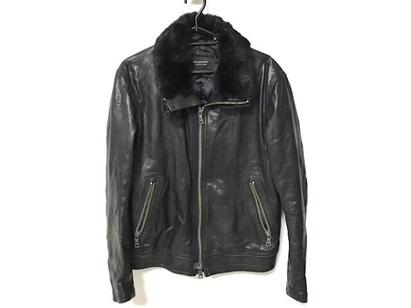 バーバリーブラックレーベル ライダースジャケット サイズL メンズ 黒