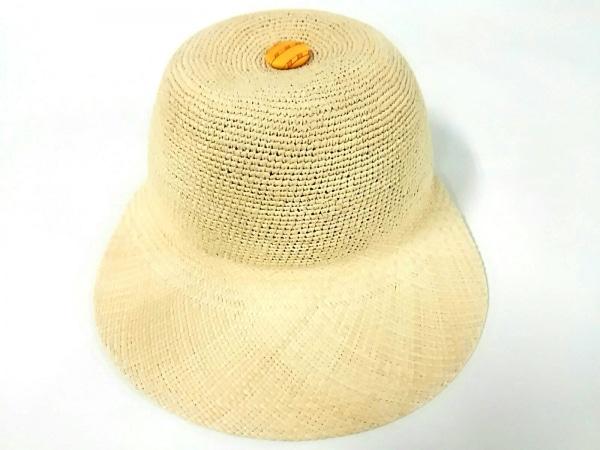 HERMES(エルメス) 帽子 58美品  セリエ ベージュ×オレンジ わら