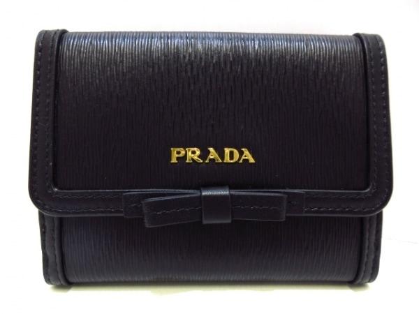 PRADA(プラダ) Wホック財布新品同様  - 1MH523 黒 リボン ヴィッテロムーヴレザー