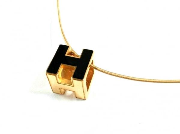 HERMES(エルメス) ネックレス美品  カージュドアッシュ 金属素材 ゴールド×黒
