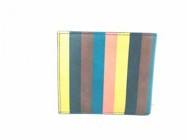 PaulSmith(ポールスミス) 2つ折り財布美品  イエロー×黒×マルチ ストライプ レザー