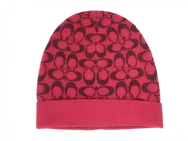 COACH(コーチ) ニット帽 O/S美品  シグネチャー柄 ボルドー×ピンク ウール