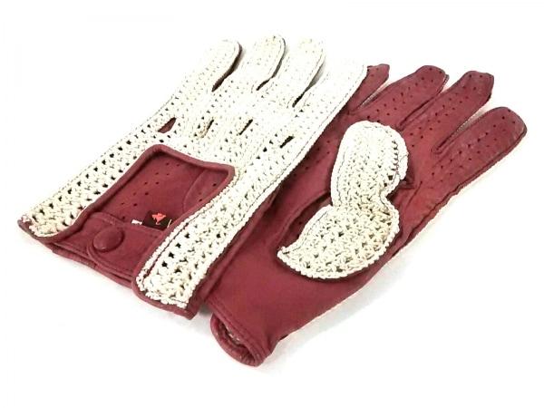 ETRO(エトロ) 手袋 M レディース美品  ボルドー×ベージュ レザー×コットン