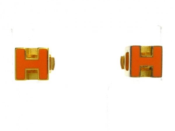 HERMES(エルメス) ピアス カージュドアッシュ 金属素材 ゴールド×オレンジ