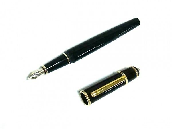 カルティエ 万年筆美品  黒×ゴールド インクなし/ペン先18K プラスチック×金属素材