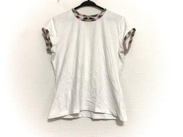 バーバリーロンドン 半袖Tシャツ サイズXL レディース美品  白×ベージュ×マルチ