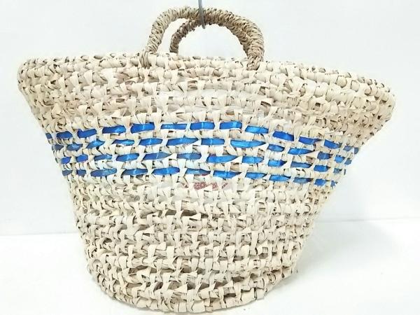 エンシャーラ トートバッグ美品  ベージュ×ブルー かごバッグ ストロー×化学繊維