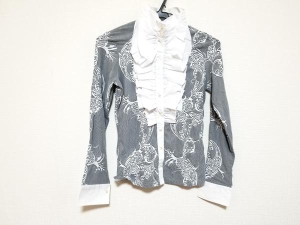 ナラカミーチェ 長袖シャツブラウス サイズ1 S レディース美品  白×黒 フリル/花柄