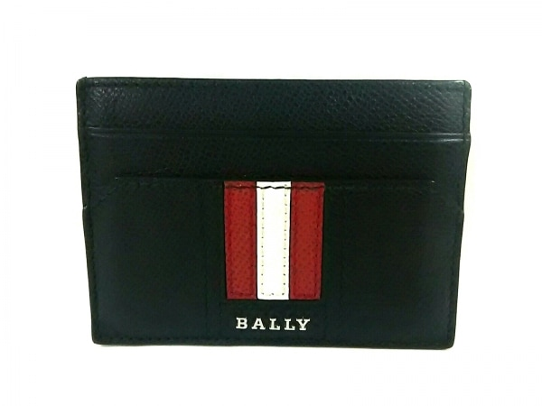 BALLY(バリー) カードケース 黒×白×レッド マネークリップ付き レザー