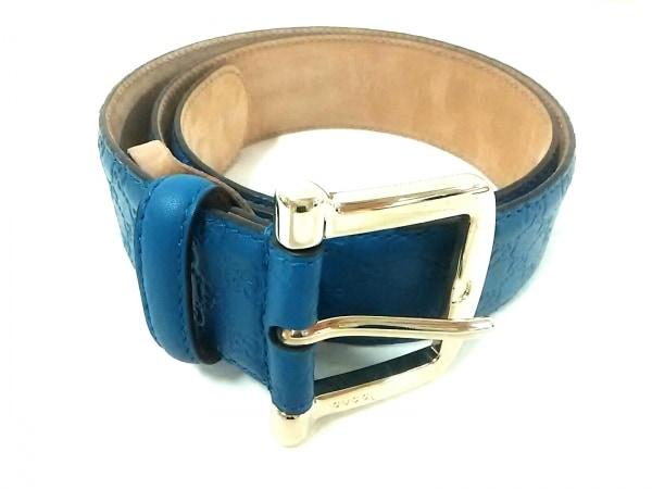 GUCCI(グッチ) ベルト 80・32美品  シマライン - ブルー×ベージュ レザー