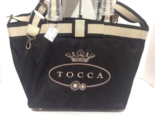 TOCCA(トッカ) ショルダーバッグ美品  黒×ベージュ マザーズバッグ/リボン ナイロン