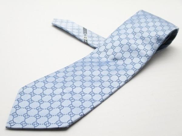 GUCCI(グッチ) ネクタイ メンズ美品  ライトブルー×ブルー