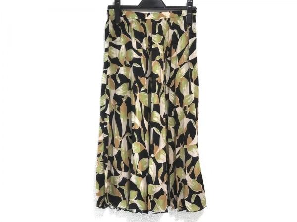 ヌメロ ヴェントゥーノ ロングスカート サイズ40 M レディース 黒×ベージュ×マルチ