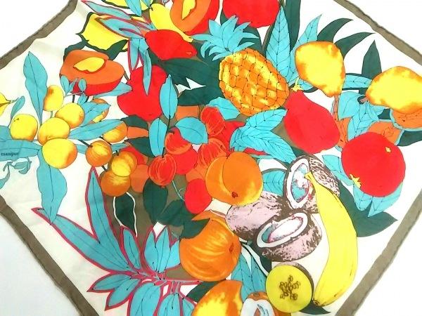 manipuri(マニプリ) スカーフ 白×レッド×マルチ フルーツ柄