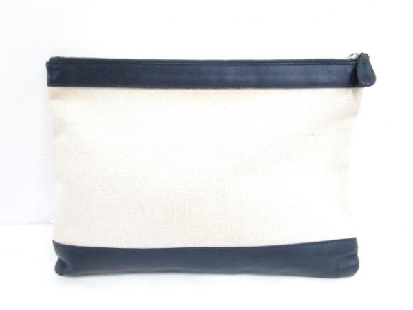 バレンシアガ クラッチバッグ - 420407 ベージュ×黒×ネイビー キャンバス×レザー