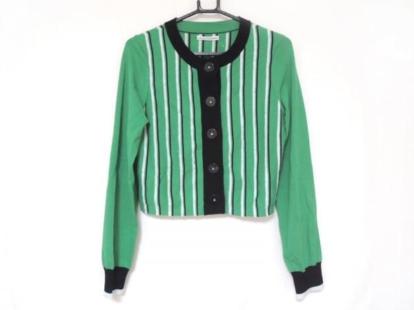 アカネ ウツノミヤ カーディガン サイズF レディース美品  グリーン×黒×白