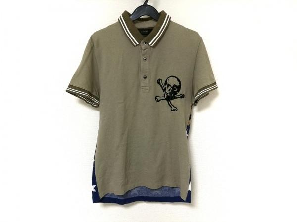 ARMED(アームド) 半袖ポロシャツ レディース カーキ×マルチ