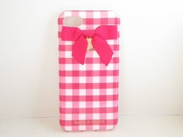 メゾンドフルール 携帯電話ケース新品同様  ピンク×ボルドー プラスチック