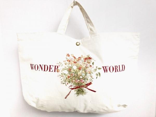 WONDERFUL WORLD(ワンダフルワールド) トートバッグ 白×マルチ フラワー コットン
