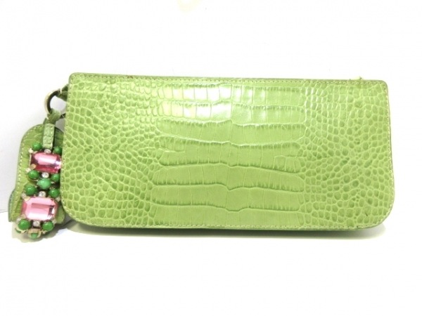 VALENTINOGARAVANI(バレンチノガラバーニ) クラッチバッグ美品  グリーン×ピンク