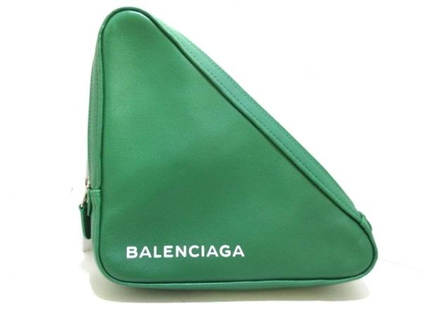 バレンシアガ クラッチバッグ美品  トライアングル 476976 グリーン×白 レザー