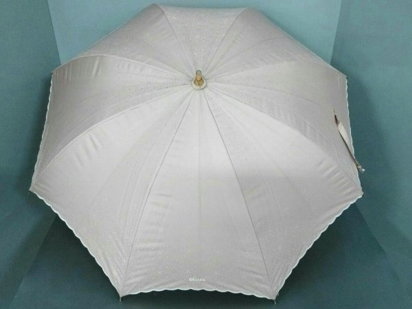 CELINE(セリーヌ) 日傘 ベージュ 化学繊維×ウッド