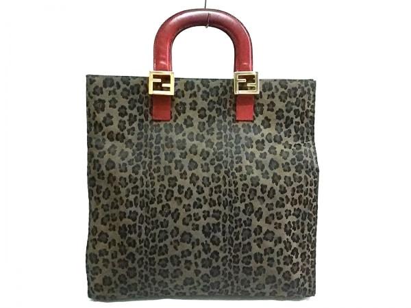 FENDI(フェンディ) ハンドバッグ - - ブラウン×黒×レッド 豹柄 ジャガード×レザー