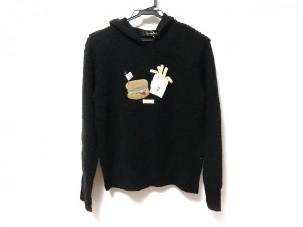 ポテチーノ 長袖セーター レディース美品  黒×ベージュ×マルチ 刺繍/フード付き