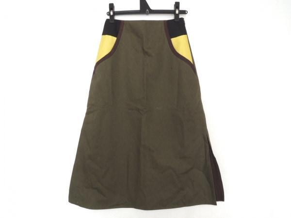 アカネ ウツノミヤ スカート サイズ36 S レディース美品  カーキ×マルチ