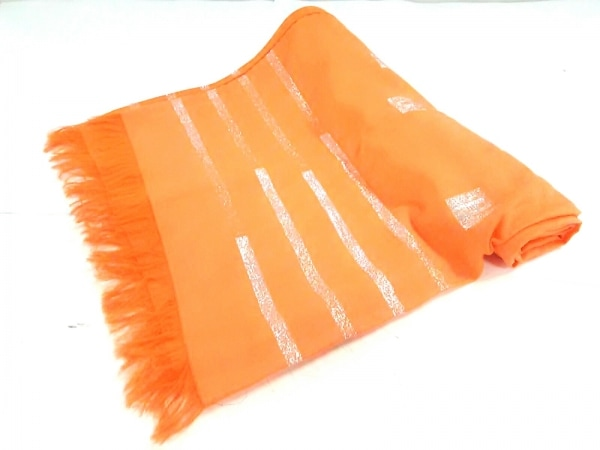 HERMES(エルメス) ストール(ショール)美品  オレンジ×シルバー ラメ