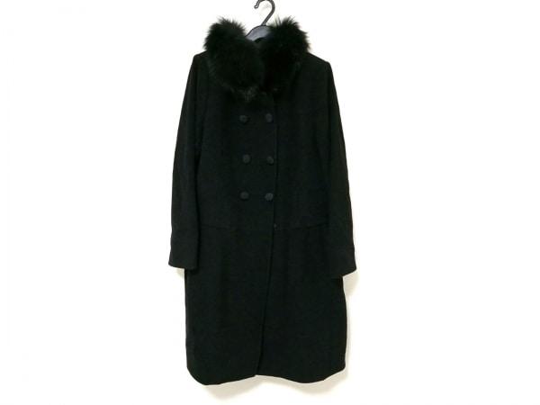 トゥービーシック コート レディース 黒 冬物/ブルーフォックスファー取り外し可