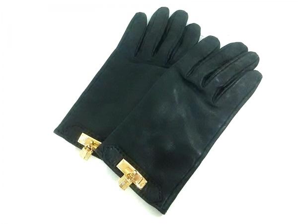 エルメス 手袋 7 レディース美品  ソヤ 黒×ゴールド ケリーチャーム/ゴールド金具