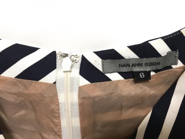 HAN AHN SOON(ハンアンスン) ワンピース サイズ6 M レディース ネイビー×白 ボーダー