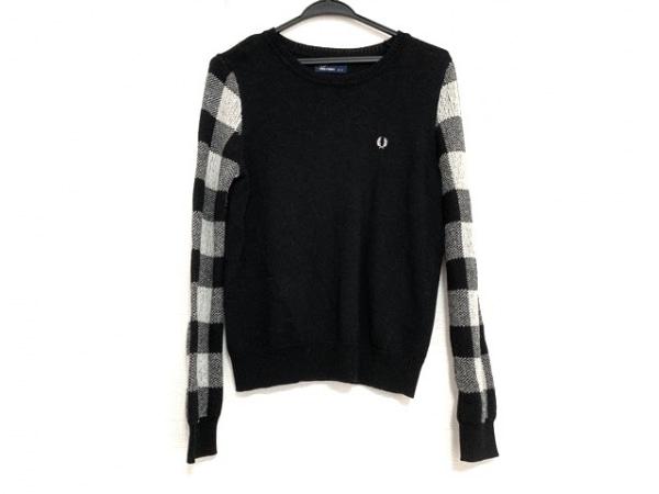 フレッドペリー 長袖セーター サイズ8 M レディース美品  黒×白 チェック柄
