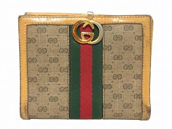 グッチ 2つ折り財布 マイクロGG/オールドグッチ - ベージュ×ライトブラウン×マルチ