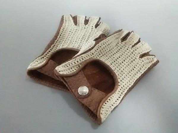 HERMES(エルメス) 手袋 8 1/2 レディース美品  ベージュ×ブラウン コットン×レザー