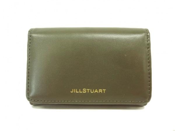 JILL STUART(ジルスチュアート) 名刺入れ カーキ レザー