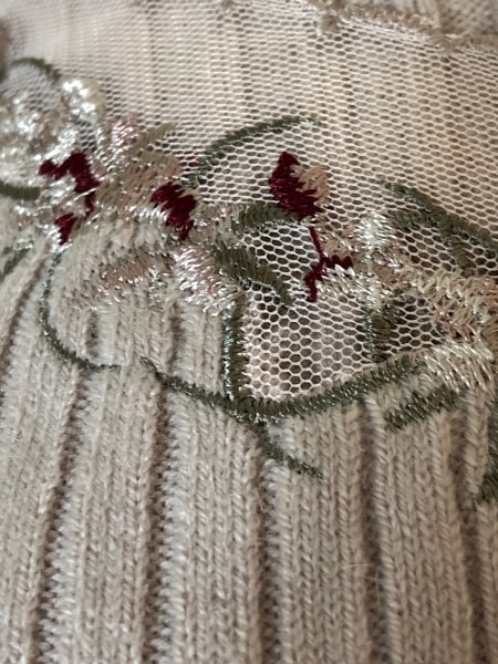 ジャスグリッティー 長袖セーター サイズ2 M レディース ピンク×カーキ×レッド