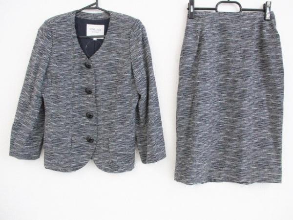 kimijima(キミジマ) スカートスーツ サイズ9 M レディース 黒×白 ノーカラー