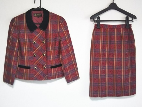 ハーディエイミス スカートスーツ サイズ7 S レディース美品  レッド×黒×マルチ