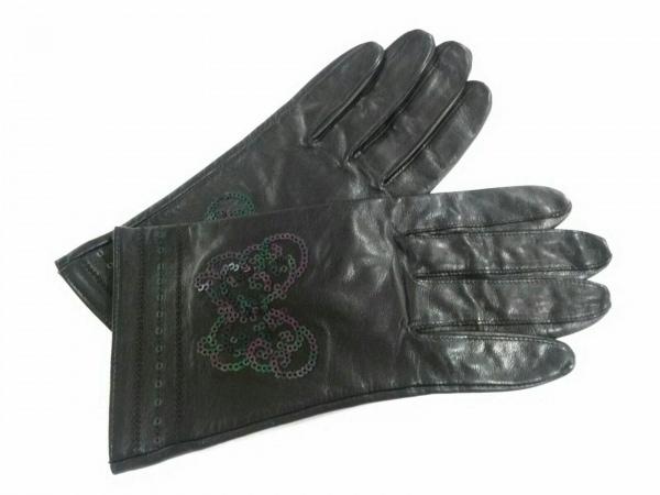 ANNA SUI(アナスイ) 手袋 レディース美品  黒 スパンコール レザー