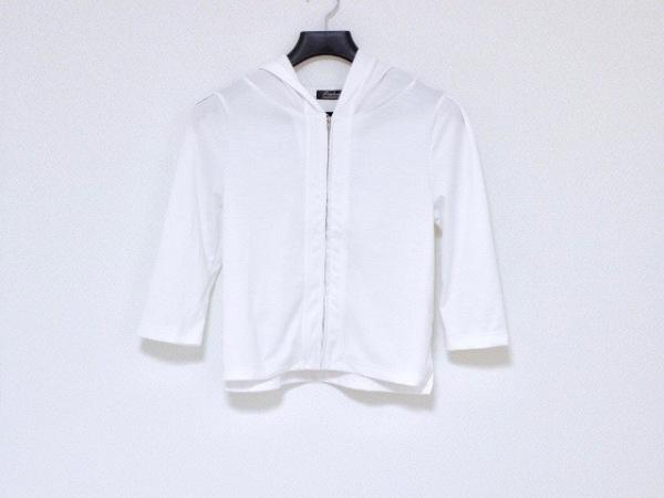Tiaclasse(ティアクラッセ) パーカー サイズM レディース 白 ジップアップ/七分袖