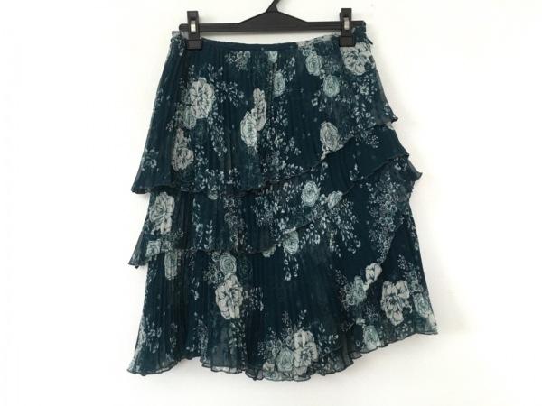 オースチンリード ミニスカート サイズ38 L レディース グリーン×白 プリーツ/花柄