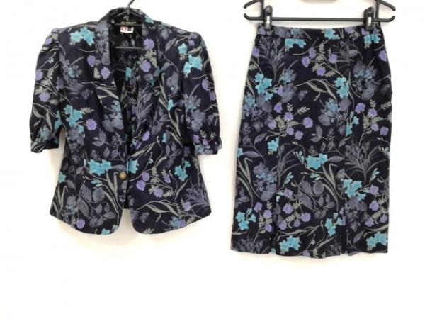 ハーディエイミス スカートスーツ サイズ13 L レディース美品  肩パッド/花柄
