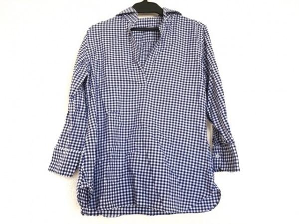 ORIAN(オリアン) 七分袖カットソー サイズ38 M レディース ブルー×白 チェック柄